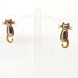🆕80s Vintage Gold & Silver Kitty Cat Earrings